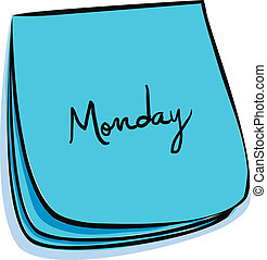 Monday Note - Daily Post-It Notes With Handwritten Monday...