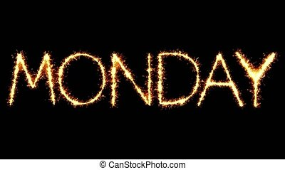 Monday Text Sparkler Glitter Sparks Firework Loop Animation...