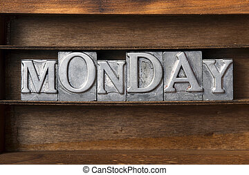 Monday tray - Monday word made from metallic letterpress ...