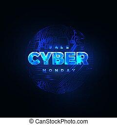 monday., vendita, cyber, promozionale, linea, evento