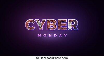 monday., venta, cyber, promocional, en línea, acontecimiento