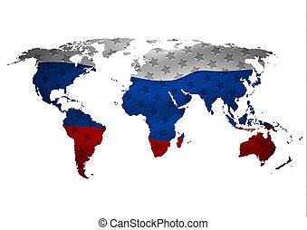 monde, carte, à, tout, etats, et, leur, flags.