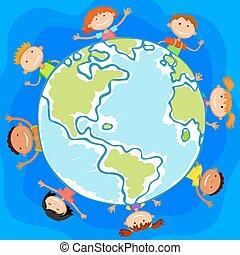 monde, enfants, cercle, gosses, sourire, fond blanc