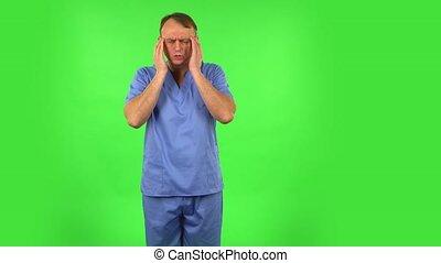 monde médical, écran, studio., plaie, froid, homme, toux, vert, tête, gorge, obtenu