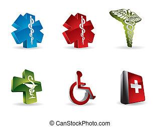 monde médical, 3d, icônes