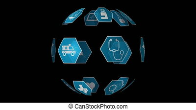 monde médical, 4k, icônes