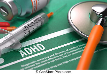 monde médical, adhd., -, concept., diagnostic