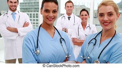 monde médical, appareil photo, sourire, équipe