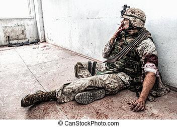 monde médical, après, blessé, fumer, réception, marin, aide
