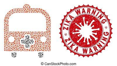 monde médical, avertissement, zika, collage, coronavirus, autobus, cachet, textured, icône
