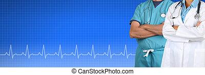 Monde Médical, bannière, deux, docteur