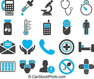 monde médical, bicolore, icônes