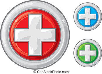 monde médical, bouton, signe