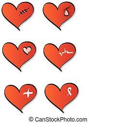 monde médical, cœurs, logos