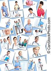 monde médical, collage., groupe, médecins