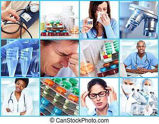 monde médical, collage.