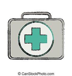 monde médical, conception, isolé, kit