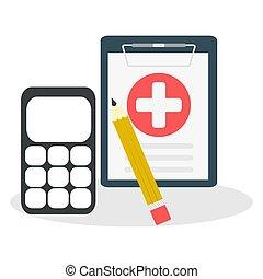 monde médical, cout, assurance, concepts, santé, formulaire, calculatrice, bill., calcul