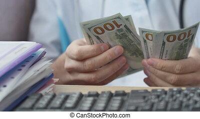 monde médical, dénombrement, argent., corrompu, docteur