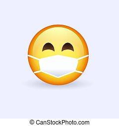 monde médical, emoji., hygiénique, vous-même, desease., temps, épidémie, figure, protéger, masque