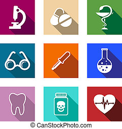 monde médical, ensemble, coloré, icônes