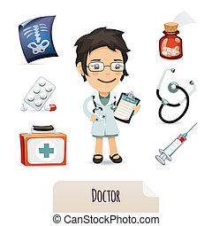 monde médical, ensemble, docteur féminin