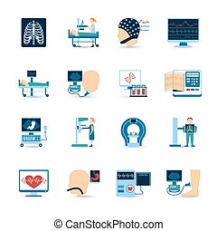 monde médical, ensemble, examen, icônes