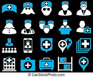 monde médical, ensemble, icône