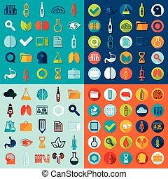 monde médical, ensemble, icônes