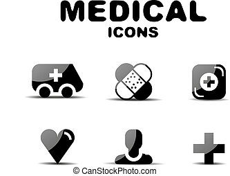 monde médical, ensemble, noir, lustré, icône