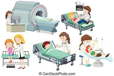 monde médical, ensemble, soin