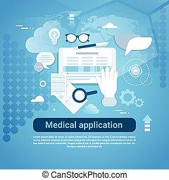 monde médical, gabarit, bannière, copie, toile, application, espace
