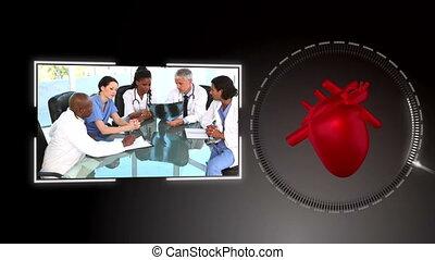 monde médical, gens, examiner, vidéo