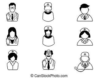 monde médical, gens, icônes