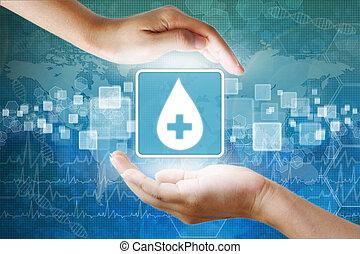 monde médical, goutte, main, sanguine, icône, donner, ...