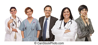monde médical, groupe, blanc, professionnels