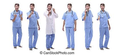 monde médical, groupe, debout, rang, médecins