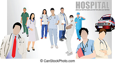 monde médical, groupe, infirmière, médecins