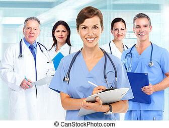 monde médical, groupe, médecins