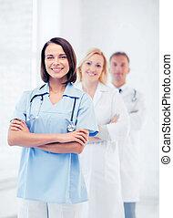 monde médical, groupe, ouvriers