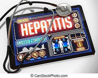 monde médical, hépatite, tablet., exposer