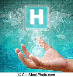 monde médical, hôpital, symbole, fond, main