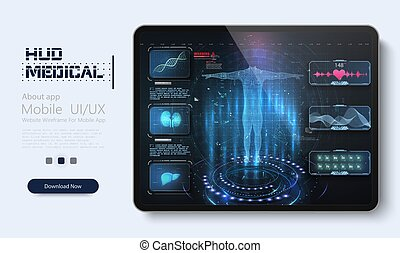 monde médical, healthcare, dépistage, tablet., cardiogram., virtuel, hud, ui, échographies, interface, ux., style., toucher, application, balayage, graphique, futuriste