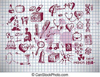 monde médical, healthcare, icônes