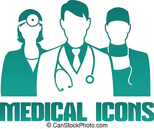 monde médical, icône, différent, médecins