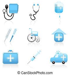 monde médical, icône, ensemble