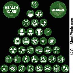 monde médical, icône, santé, rouges, soin