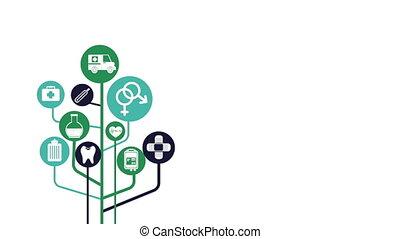 monde médical, infographic, ensemble, animation, icônes
