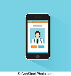 monde médical, intelligent, téléphone, application, docteur