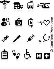 monde médical, internet, hôpital, collection, icône